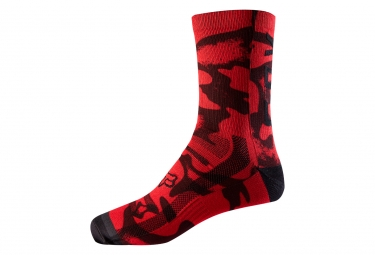 Fox 8'' Print Trail Pair of Socks Red