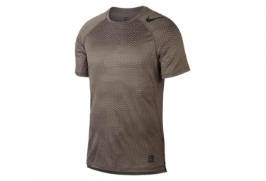 Maillot manches courtes nike pro hypercool marron camo s
