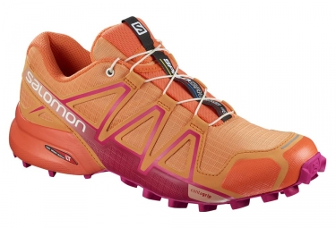 chaussures de trail femme salomon speedcross 4 orange rose 39 1 3