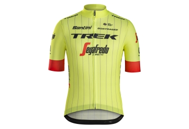 Maillot manches courtes trek by santini team trek segafredo replica jaune fluo rouge