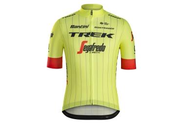 maillot manches courtes trek by santini team trek segafredo replica jaune fluo rouge
