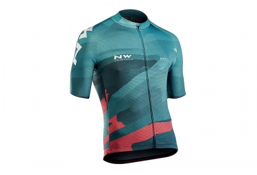 Maillot manches courtes northwave blade 3 bleu turquoise rose xxl