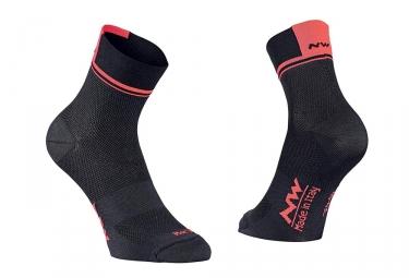 Paire de chaussettes northwave logo 2 noir orange fluo 36 39