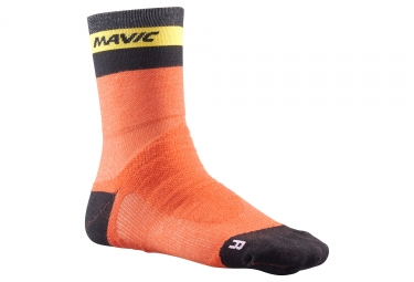 paire de chaussettes mavic 2018 ksyrium elite thermo orange noir 43 46