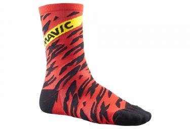 Paire de chaussettes mavic 2018 deemax pro high rouge noir 35 38