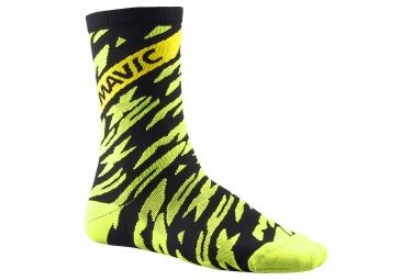 Paire de chaussettes mavic 2018 deemax pro high fluo noir 35 38