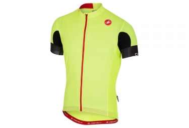 maillot manches courtes castelli aero race 4 1 solid jaune fluo xl