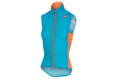gilet coupe vent sans manche femme castelli 2018 pro light bleu orange xs