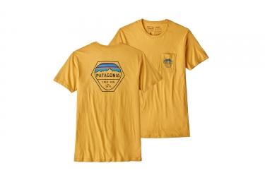 Patagonia fitz roy hex organic pocket t shirt jaune xs