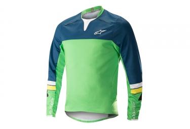 Alpinestars maillot drop pro manches longues bleu vert xl