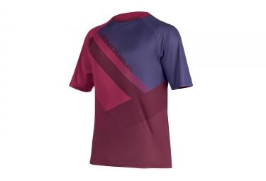 Maillot manches courtes endura singletrack print ii bordeaux violet l