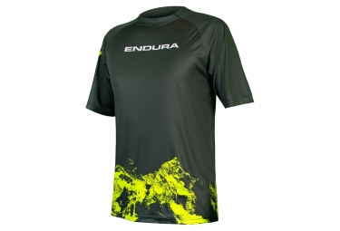 maillot manches courtes endura singletrack print ii mountain kaki xl