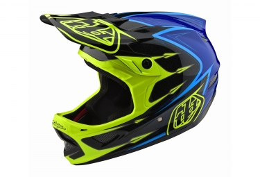 Casque troy lee designs d3 composite corona jaune fluo bleu xl 60 61 cm