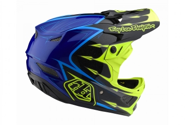 Casco Integral Troy Lee Designs D3 Composite Corona Bleu / Jaune / Fluo