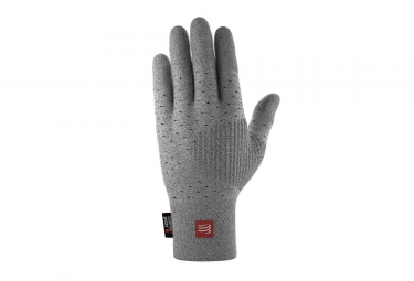 Paire de Gants Compressport 3D Thermo Seamless Running Gris