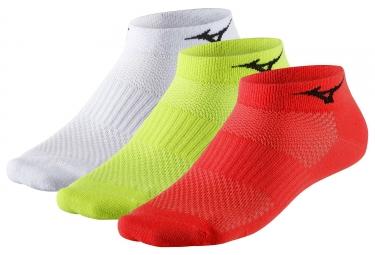 Paires de chaussettes mizuno training mid 3 paires rouge jaune fluo blanc 35 37