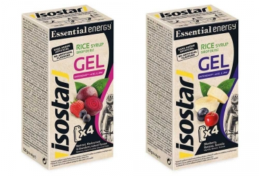 gel energetique isostar essential betterave cassis fraise myrtilles banane 8x35g