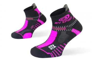 paire de chaussettes femme bv sport stx evo noir rose 36 38