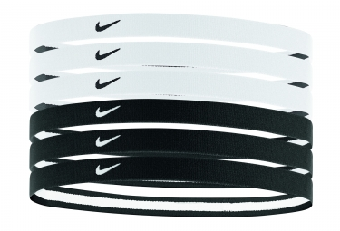 NIKE SWOOSH SPORT HEADBANDS (x6) Black White