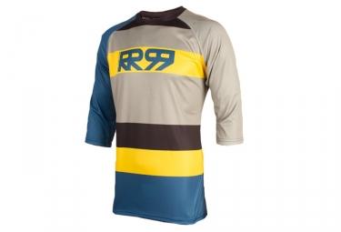maillot manches 3 4 royal drift bleu jaune gris s