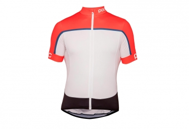 Maillot Manches Courtes POC Essential Road Block Prismane Rouge Blanc