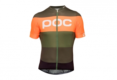 maillot poc essential road logo pentlandite mulighti vert orange xl