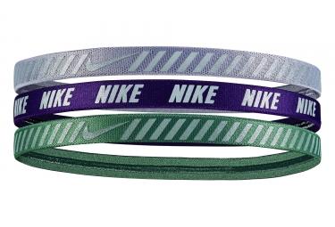 NIKE Hazard Stripe HEADBANDS (x3) Green Purple