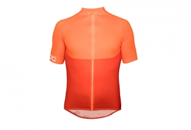 maillot manches courtes poc essential xc zip zink orange s