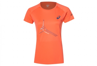 t shirt femme asics schneider marathon de paris 2018 orange xs