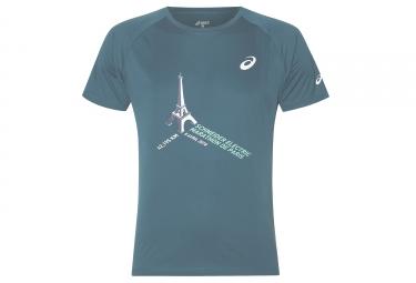t shirt asics schneider marathon de paris 2018 bleu m