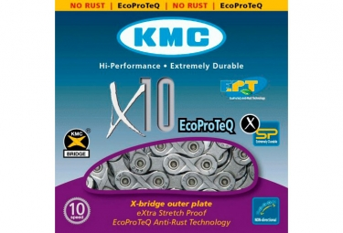 chaine kmc x10 ept 114 maillons gris