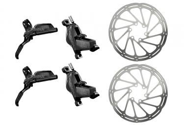 Paire de freins SRAM CODE R Noir avec 2 disques Sram Centerline 6 Trous Arrondi Argent 200 mm