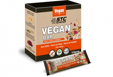 Barre energetique stc nutrition vegan bar 5 barres de 35g cacahuetes cranberry