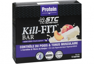 barre proteinee stc nutrition kill fit bar 5 barres de 35 g yaourt peche