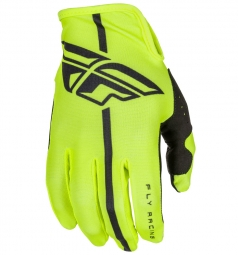 Paire de gants longs enfant fly racing lite jaune fluo s