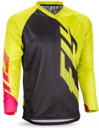 maillot manches longues fly racing radium noir jaune rose s