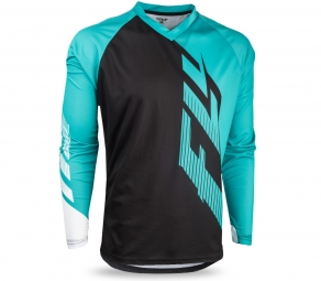 maillot manches longues fly racing radium noir turquoise blanc s