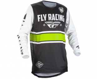 Maillot manches longues enfant fly racing kinetic era noir blanc kid s