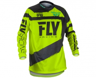 Maillot manches longues enfant fly racing f 16 noir jaune fluo m