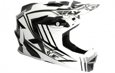 Casque integral fly racing default blanc noir xl 61 62 cm
