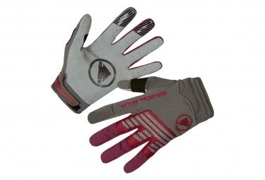 Paire de gants longs endura singletrack gris rouge bordeaux s