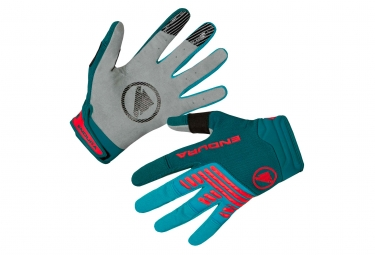 Paire de gants longs endura singletrack vert rouge xxl