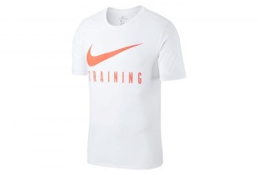 Maillot manches courtes nike dry blanc rouge homme m
