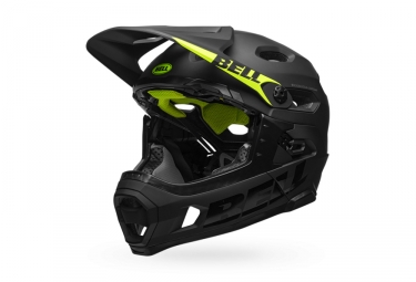 Bell Super DH Mips Helmet with Removable Chinstrap Matte Black Neon Green 2021