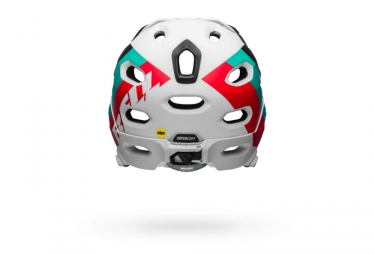Bell Super DH Mips Helmet with Removable Chinstrap White Red Teal Blue