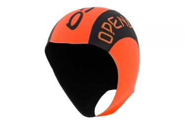 bonnet de bain neoprene orca high visibility orange noir l xl