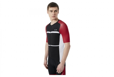 maillot manches courtes oakley colorblock road red line xl