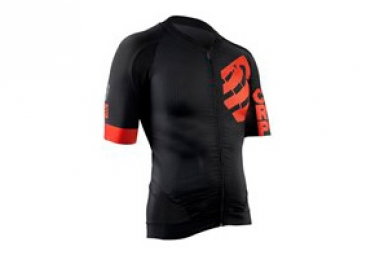 Maillot manches courtes compressport cycling on off noir rouge s