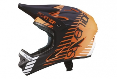 Casque integral vtt seven m1 tactic orange noir blanc xl 60 62 cm
