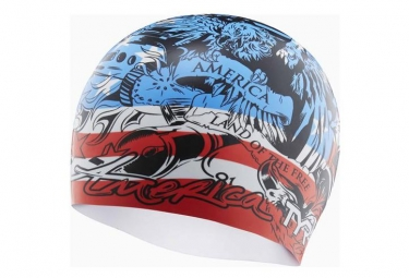 Bonnet de bain TYR Home of the Brave Rouge/ Blanc/ Bleu